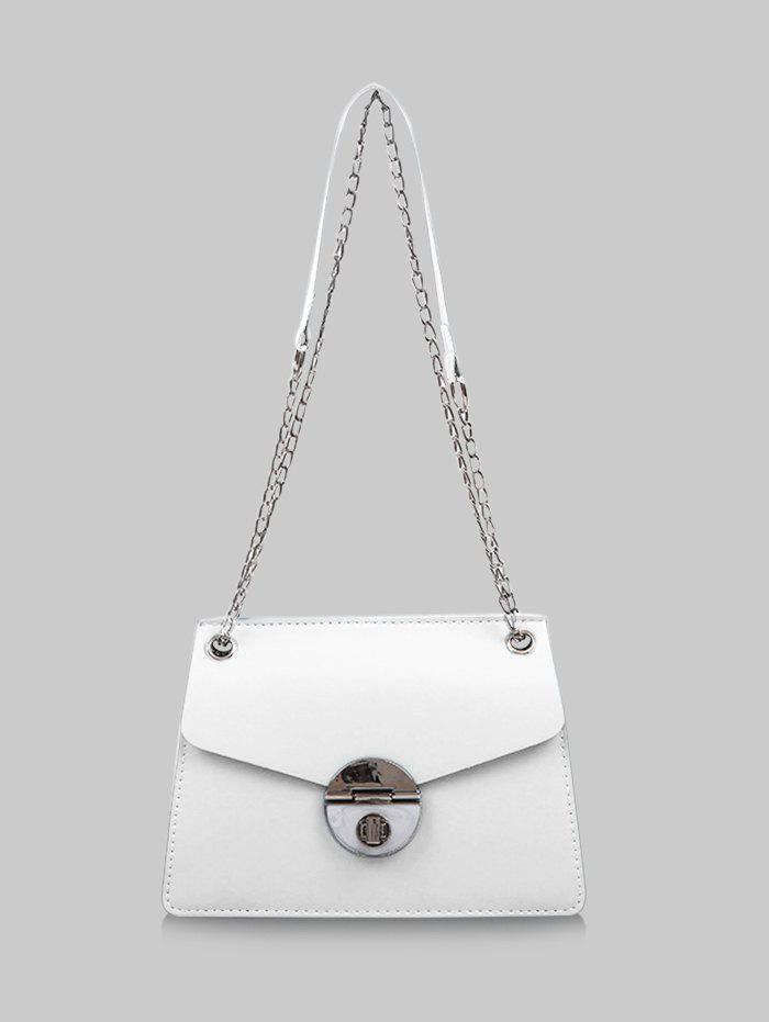Cover Chain Hasp Shoulder Bag - CRYSTAL CREAM