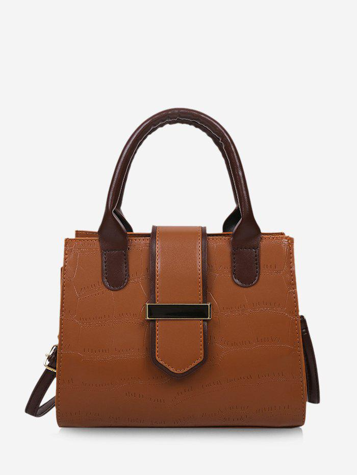 Stone Grain Color Block Convertible Strap Tote Bag - LIGHT BROWN