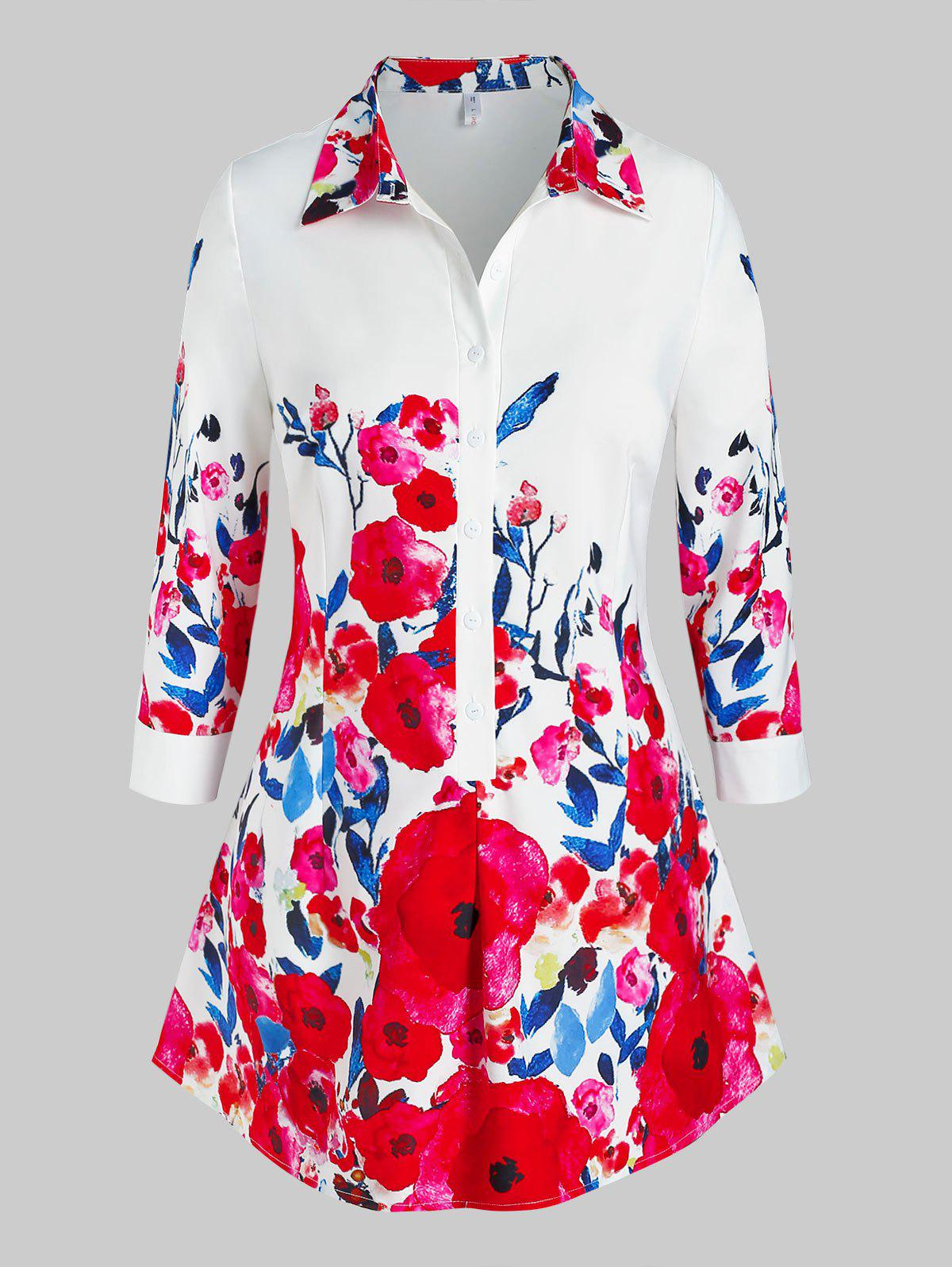 Plus Size Half Button Floral Printed Blouse - RED 2X