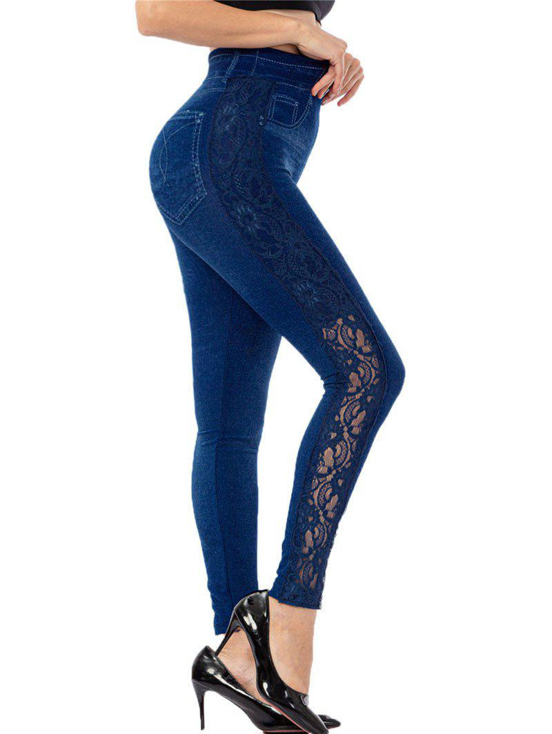 3D Print Side Lace Panel Jersey Jeggings - BLUE ONE SIZE