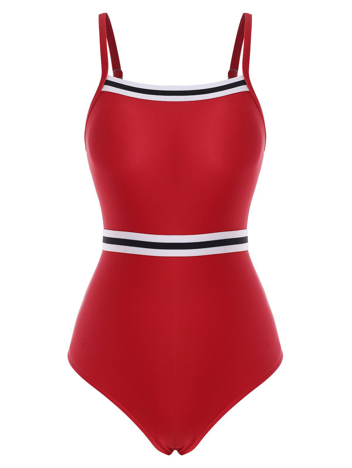 Striped Cutout High Rise One-piece Swimsuit - RED XL
