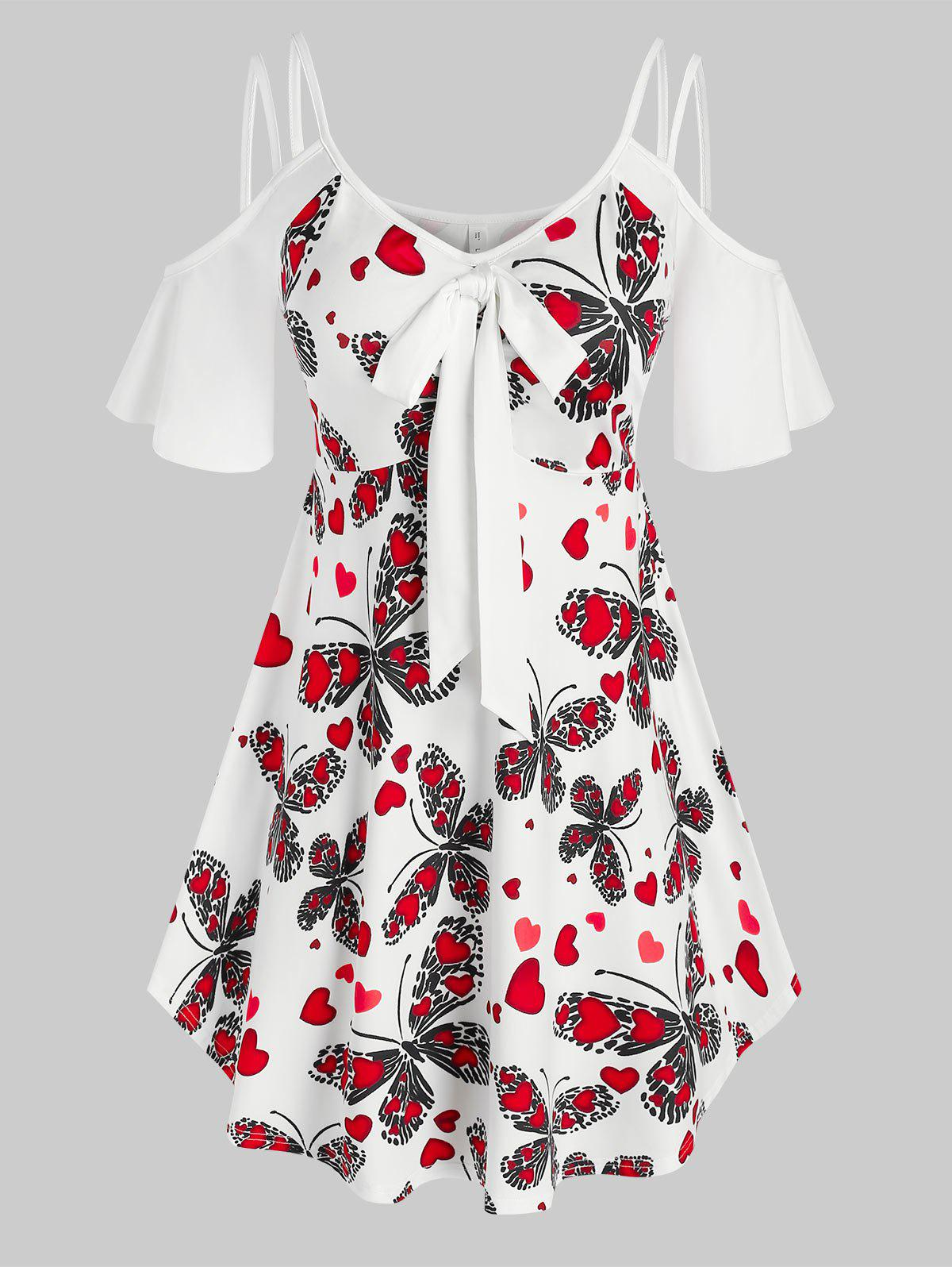 Plus Size Butterfly Heart Print Open Shoulder Knot Tunic Tee - WHITE 3X
