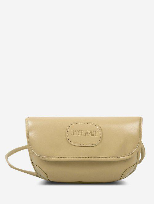 Embossed Letter Pattern Cover Crossbody Bag - GOLDENROD