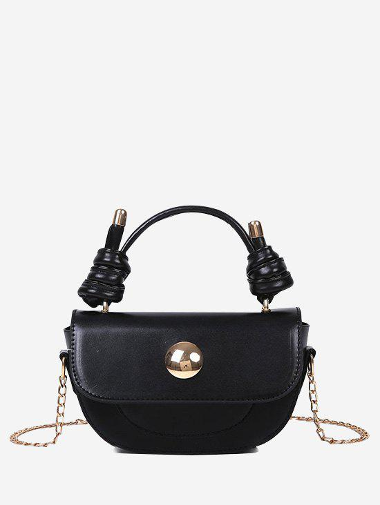 Knotted Handle Chain Saddle Bag - BLACK