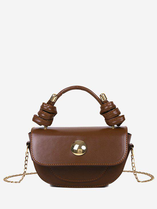 Knotted Handle Chain Saddle Bag - LIGHT BROWN