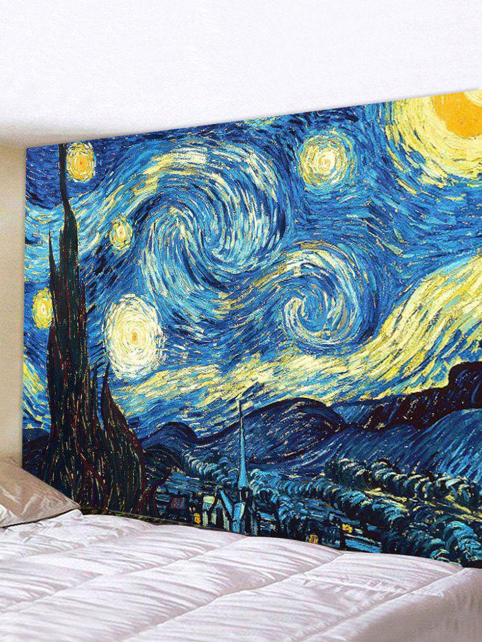 Starry Night Print Wall Tapestry - multicolor W59 X L51 INCH