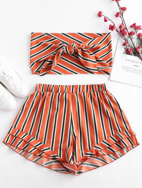 Plus Size Striped Knotted Bandeau Top and Shorts Set
