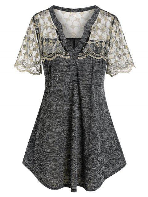 Plus Size Space Dye Embroidered Lace Tee