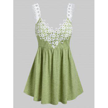 Flower Lace Insert Flare Tank Top