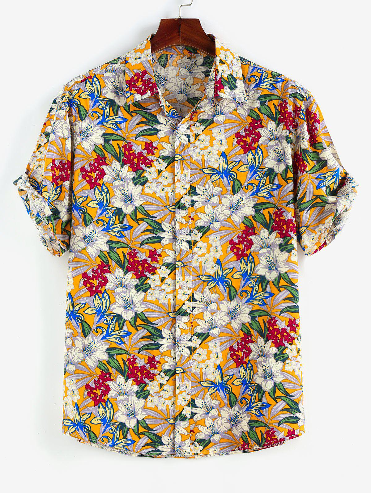 Allover Floral Print Button Up Shirt - WHITE L
