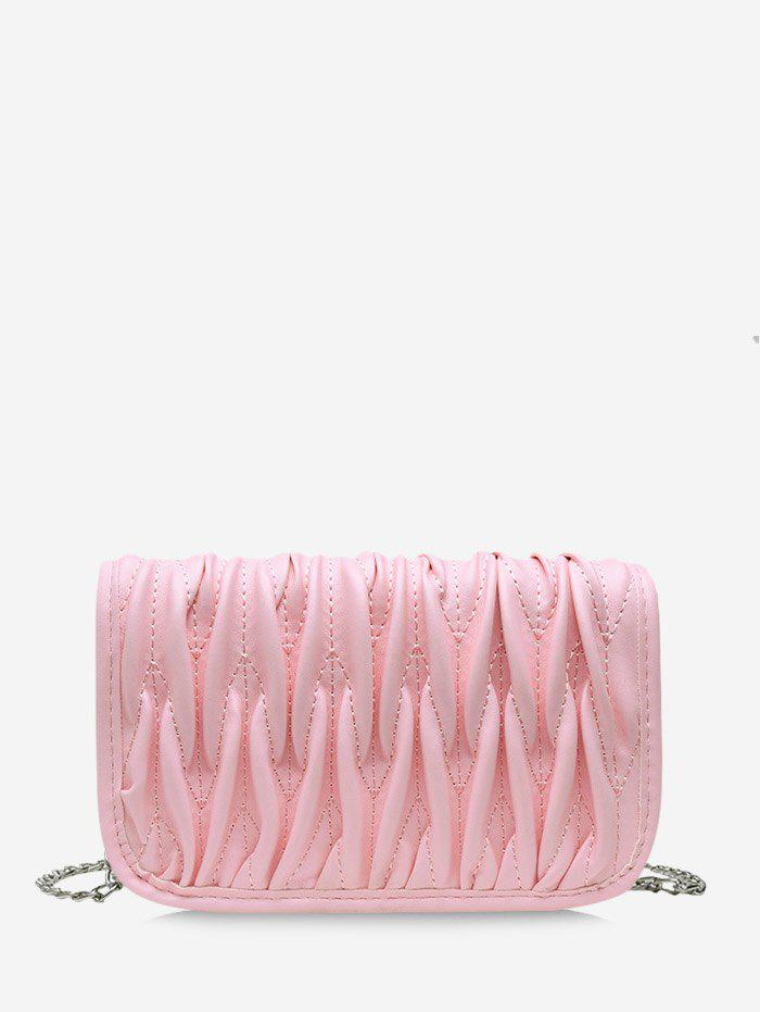 Pleated Chain Cover Crossbody Bag - PIG PINK