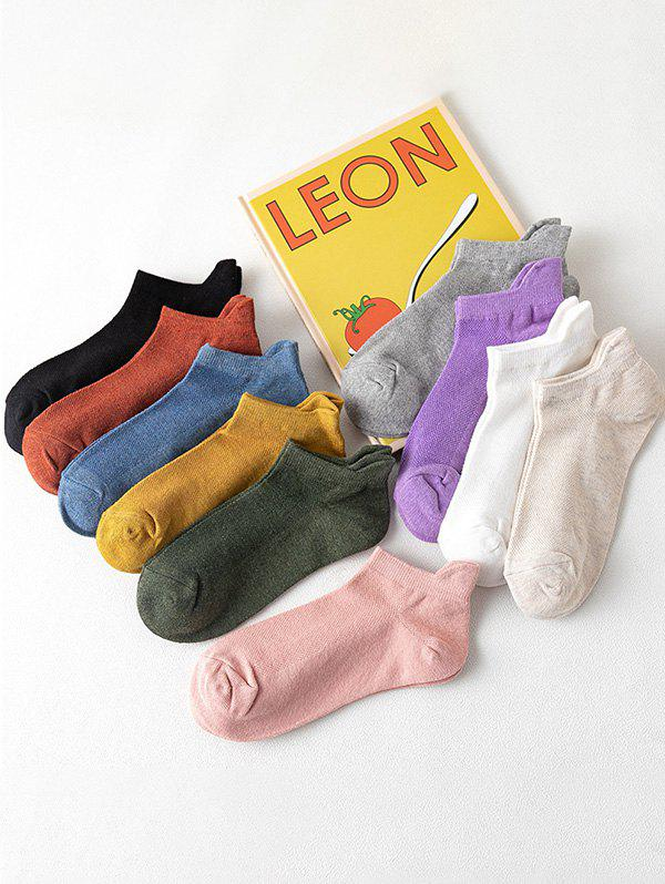 10 Pairs Breathable Anti-Chafe Ankle Socks Set - multicolor