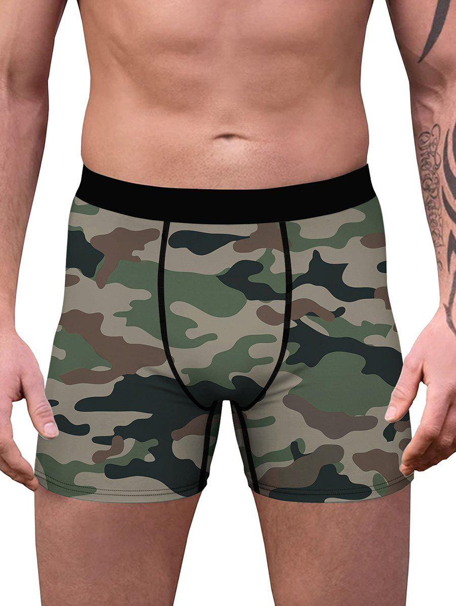 Camouflage Print Stitching Boxers - CAMOUFLAGE GREEN XXL