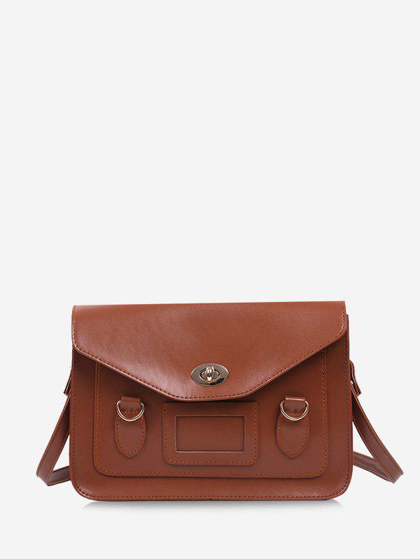 Retro Cover Shoulder Bag - LIGHT BROWN