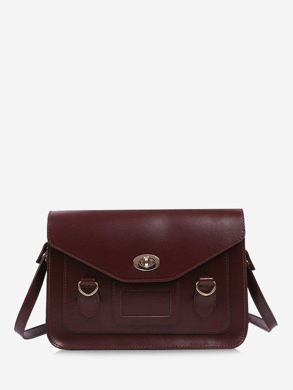 Retro Cover Shoulder Bag - DEEP BROWN