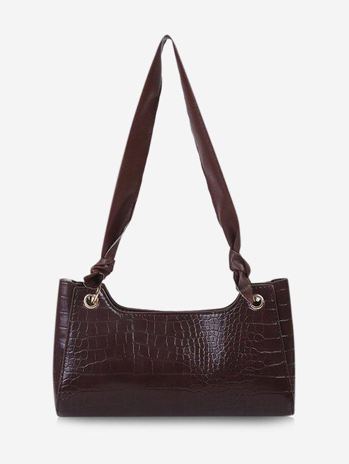 Solid Textured Knotted Shoulder Bag - DEEP BROWN