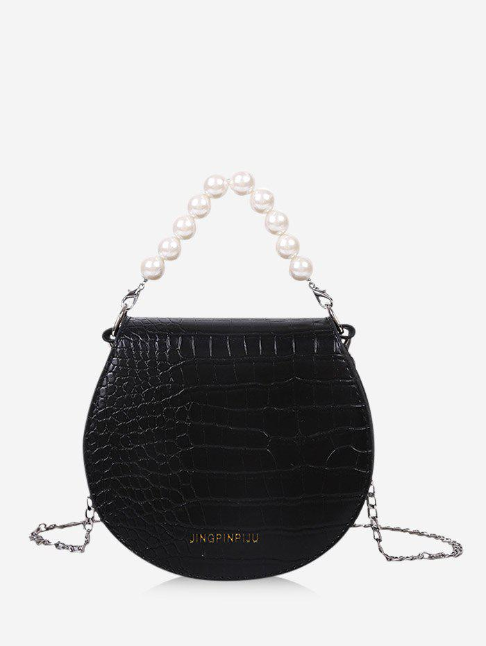 Faux Pearl Handle Chain Strap Handbag - BLACK