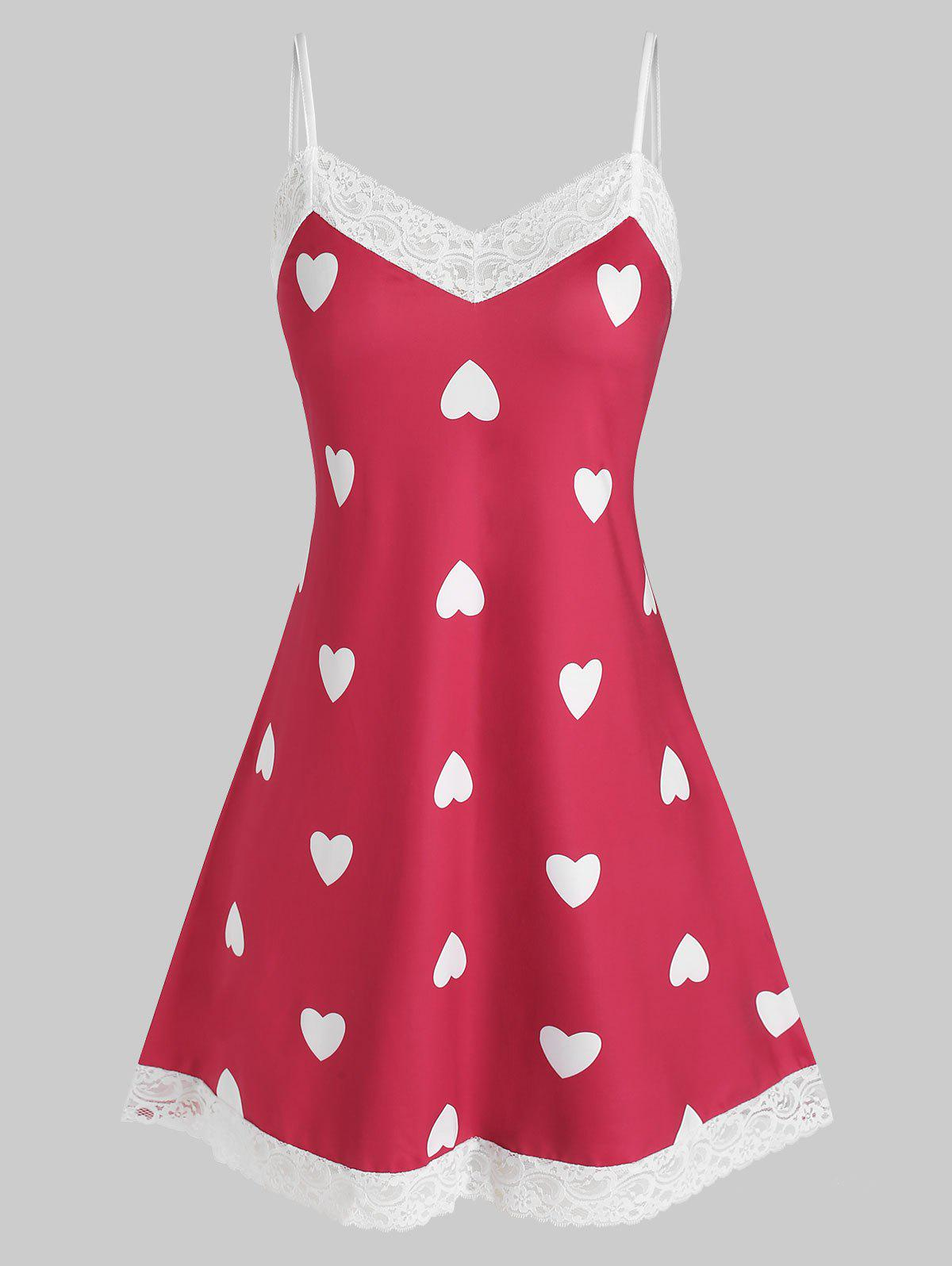 Plus Size Lace Trim Heart Print Sleep Dress - RED 2X