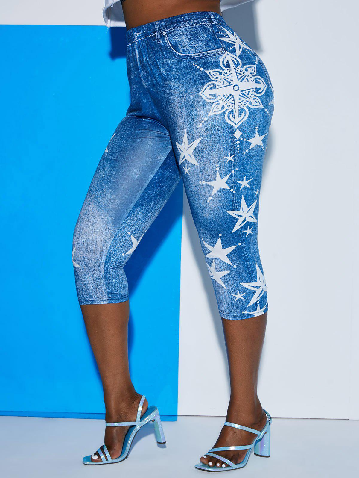 3D Print Star Plus Size Capri Jeggings - BLUE 3X