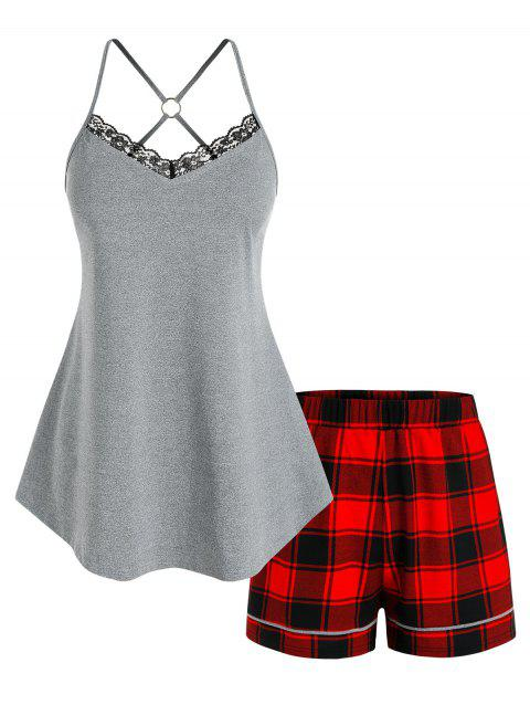 Plus Size O Ring Strappy Top and Plaid Shorts Pajamas Set