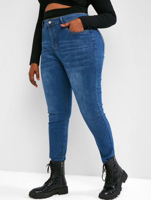 Plus Size High Waisted Raw Hem Tapered Jeans