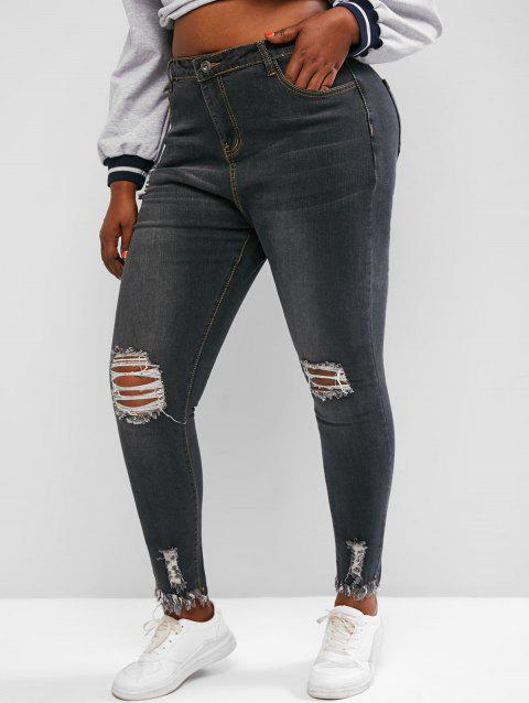 Plus Size Raw Hem Skinny Distressed Jeans
