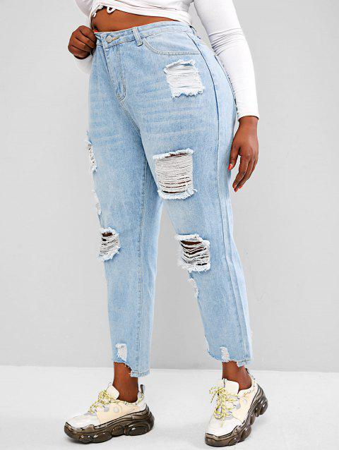 Plus Size Light Wash Distressed Boyfriend Jeans