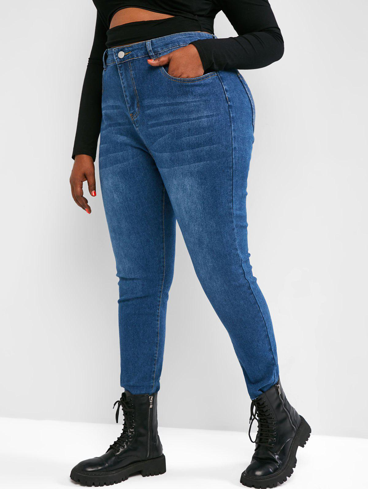 Plus Size High Waisted Raw Hem Tapered Jeans - BLUE 3XL