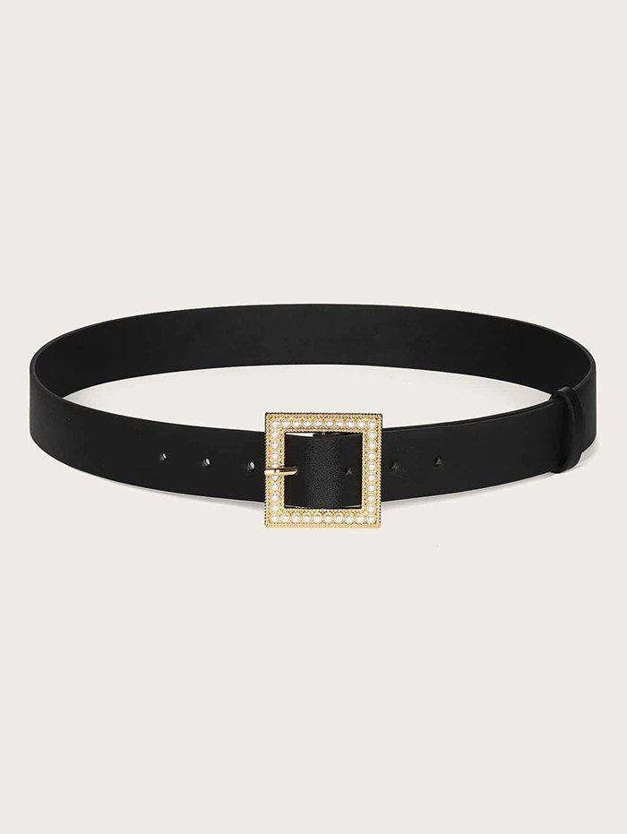 Square Faux Pearl Pin Buckle Belt - BLACK