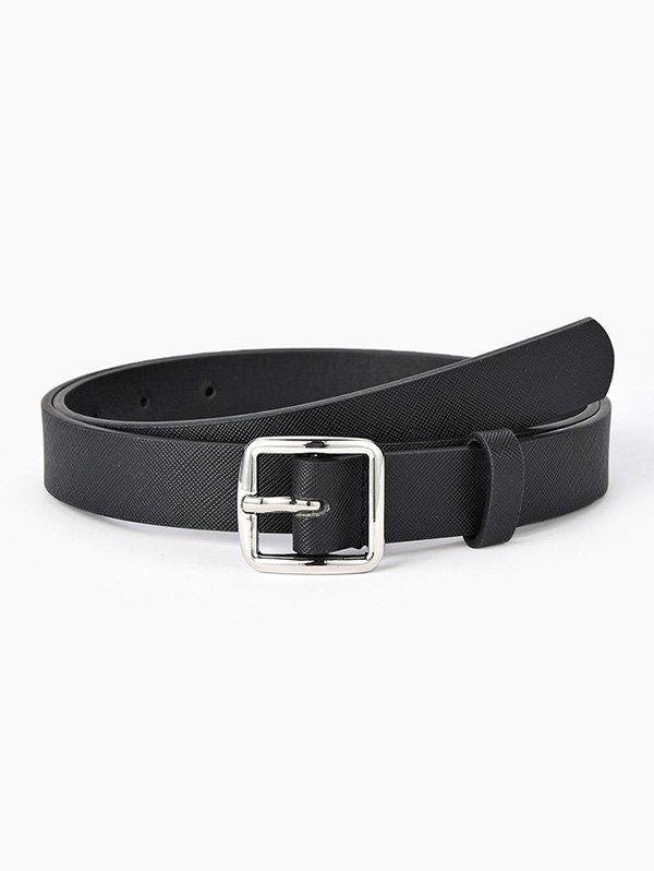 Brief Square Pin Buckle Jeans Textured Belt - BLACK