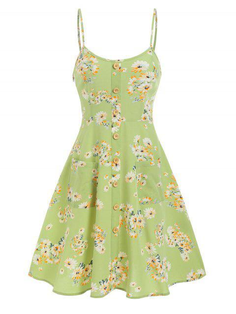 Bohemian Floral Print Pockets Fit and Flare Dress