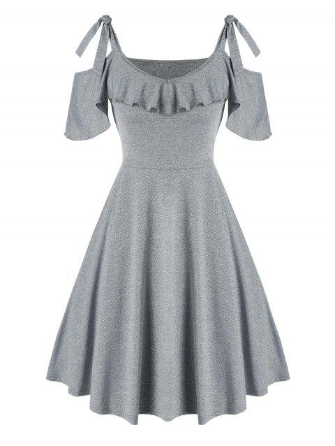 Cold Shoulder Tie Knot Ruffled Dress