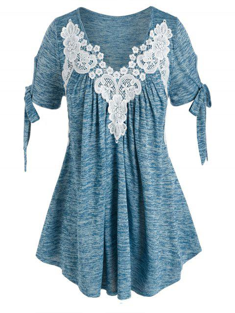 Plus Size Lace Applique Tie Sleeves Space Dye Tee