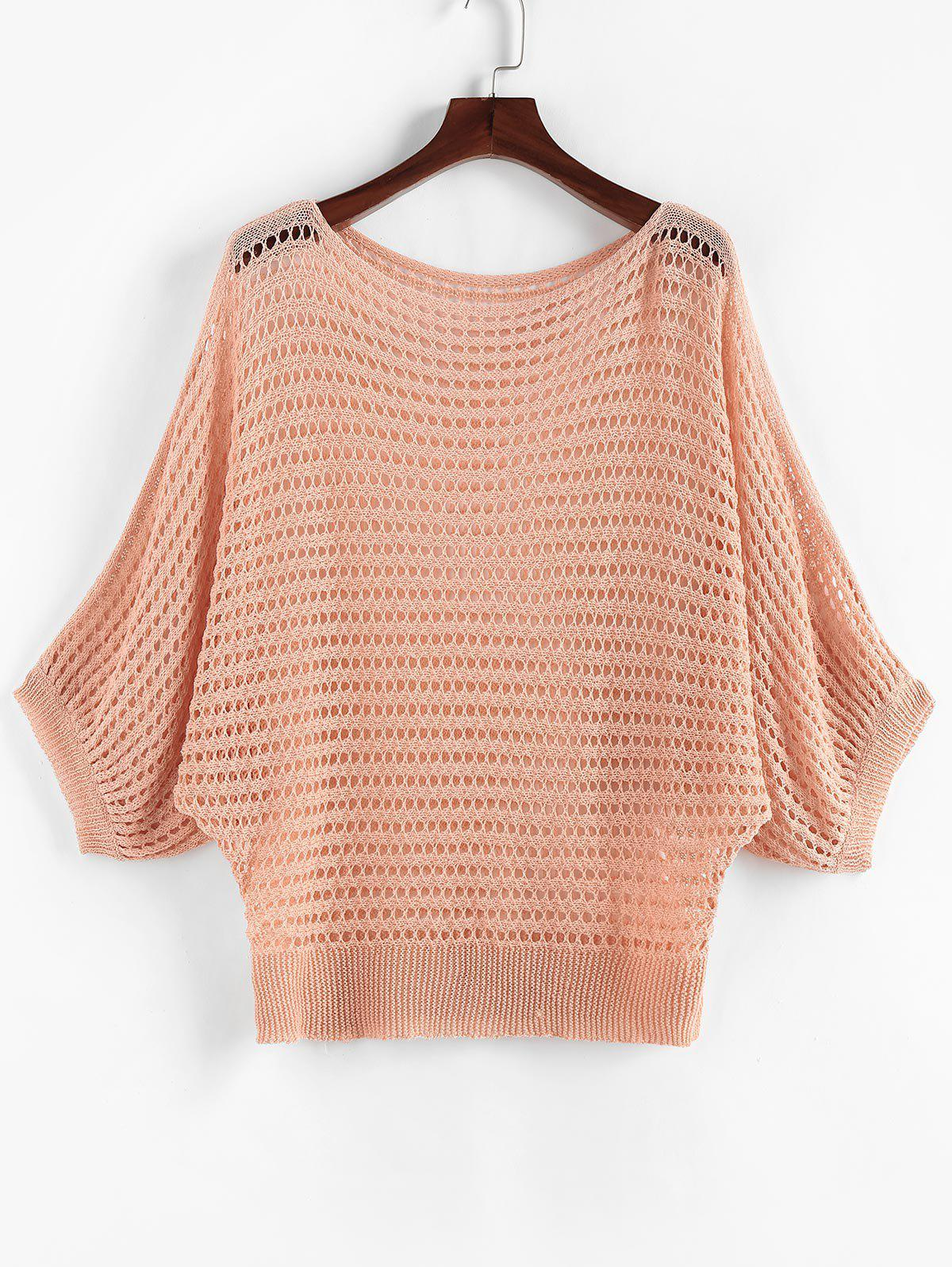Eyelet Dolman Sleeve Plus Size Solid Knitwear - LIGHT ORANGE 3XL