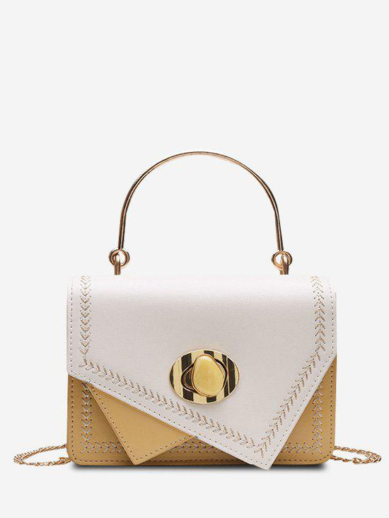 Faux Gem Hasp Irregular Metal Handle Handbag - SUN YELLOW