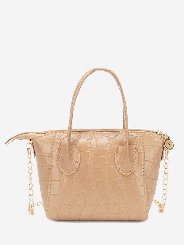 Chain Stone Grain Solid Tote Bag - CAMEL BROWN
