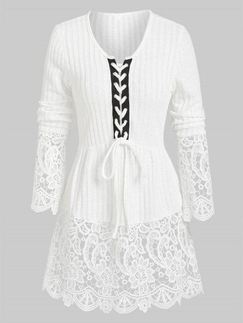 Ribbed Lace Panel Lacing  Knitted Top