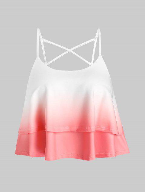 Ombre Layers Crop Criss Cross Back Tank Top