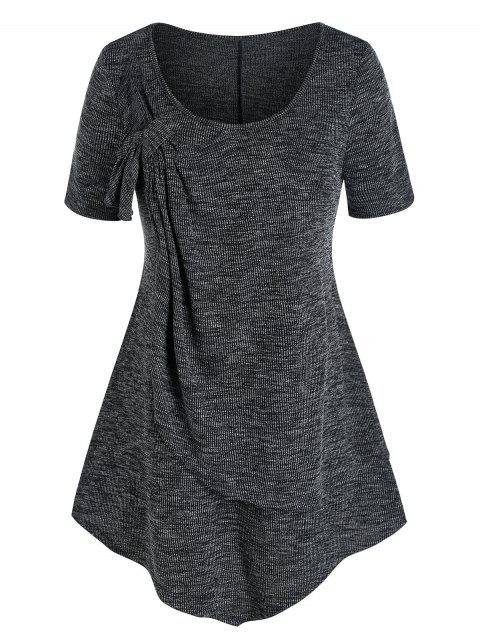 Plus Size Knotted Layers Asymmetric T Shirt