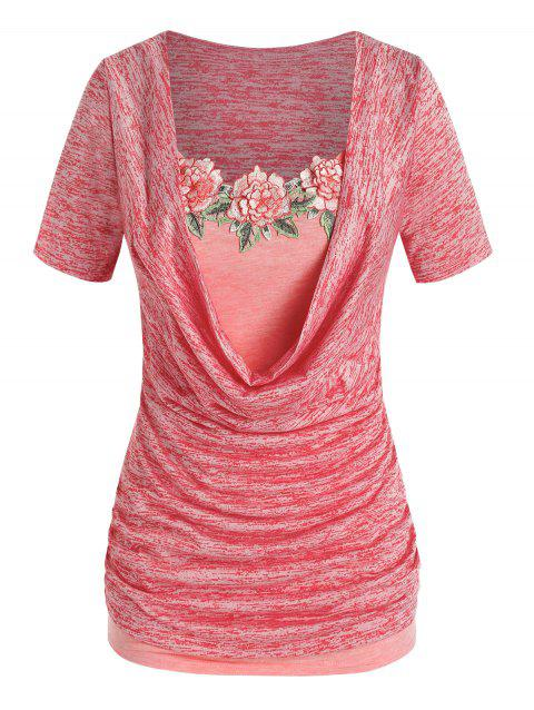 Plus Size Cowl Neck Space Dye Tee and Floral Applique Tank Top Set