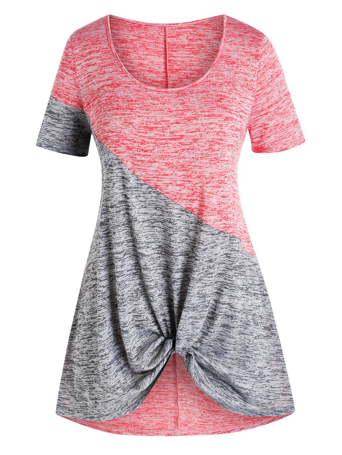 Plus Size Front Twist Two Tone Tee - multicolor 5X