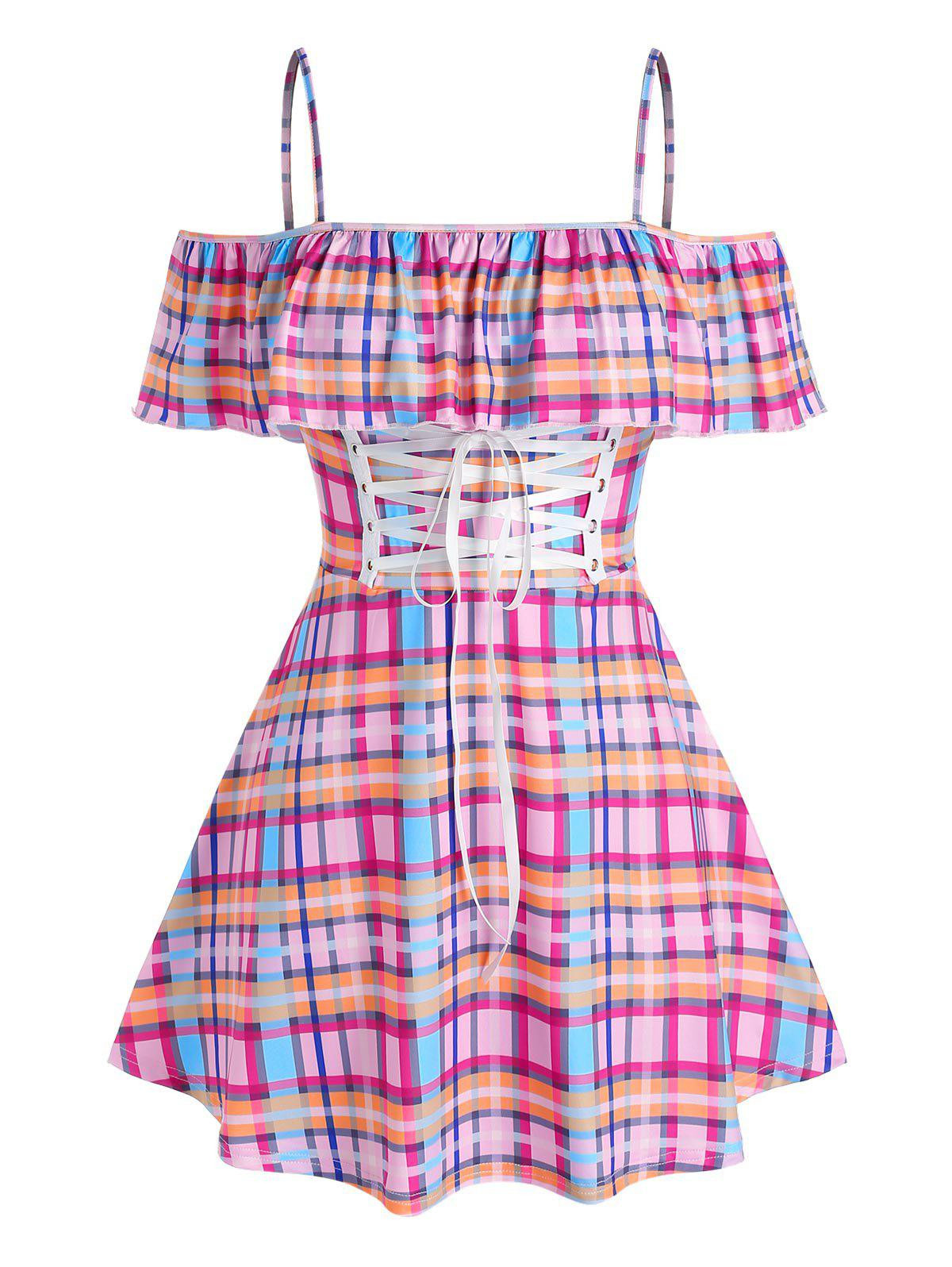 Plus Size Cold Shoulder Ruffled Lace Up Plaid Dress - multicolor 5X