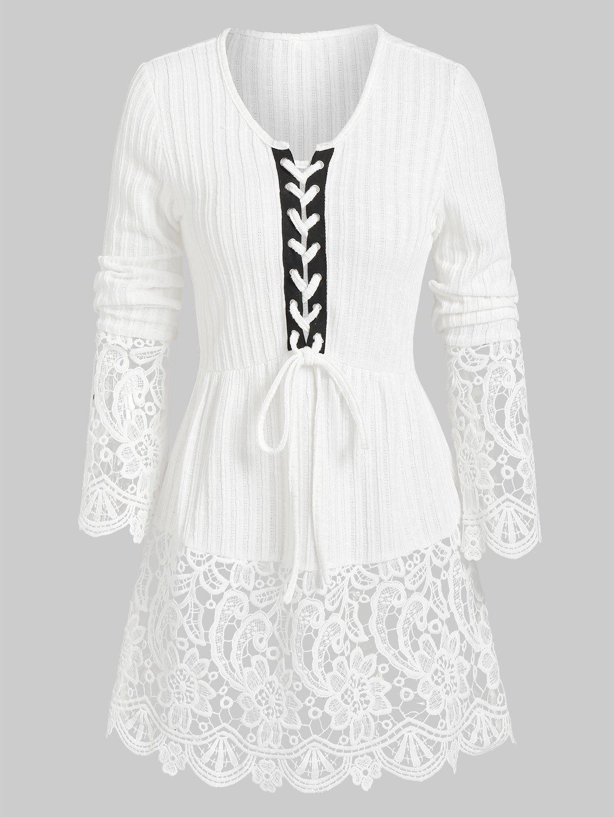 Ribbed Lace Panel Lacing  Knitted Top - WHITE L