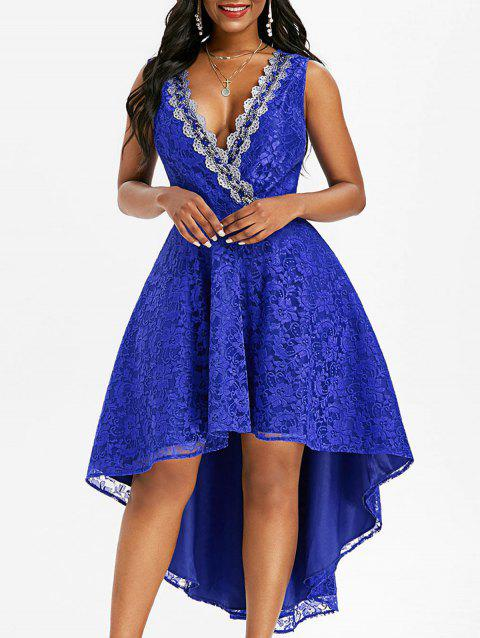 Lace Sequined Surplice Dovetail Dress