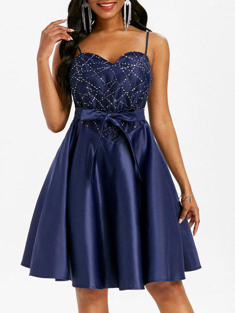 Sequined Lace Insert Belted Cami Party Dress