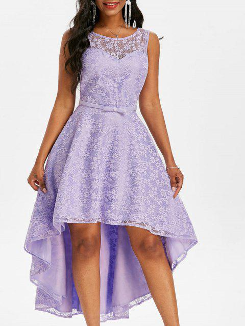 Lace V Back Dip Hem Midi Party Dress