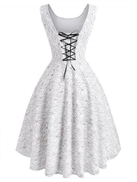 Flower Butterfly Lace Overlay Lace-up High Low Dress