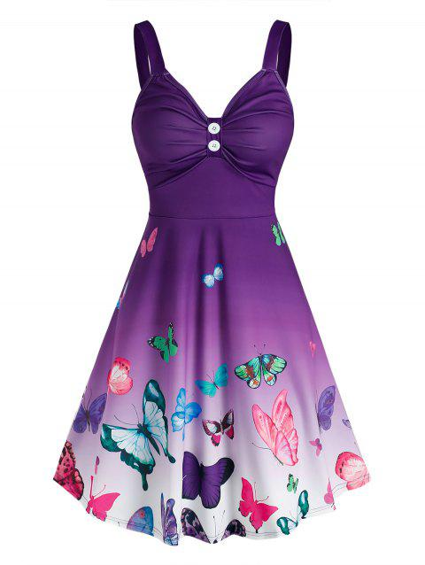 Ruched Butterfly Print Ombre Color Dress