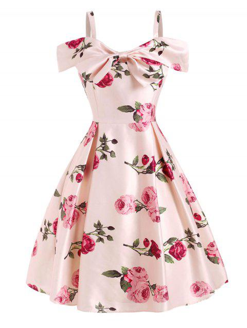 Flower Print Cold Shoulder Bowknot Dress