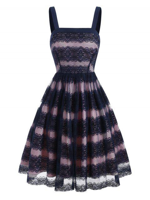 Lace Overlay Square Neck Colorblock Dress